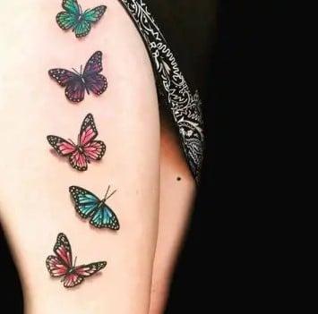 papillons sur la cuisse Effet 3d