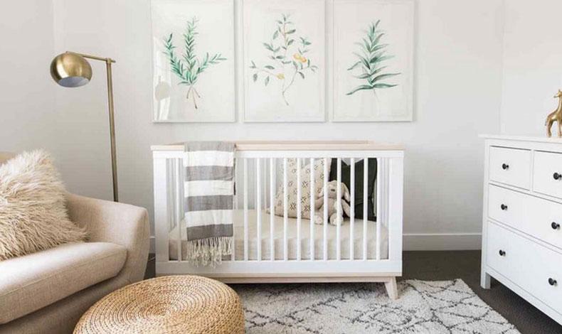Chambre épurée pour bébé deco mixte