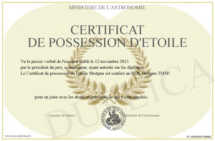 Certificat possession etoile